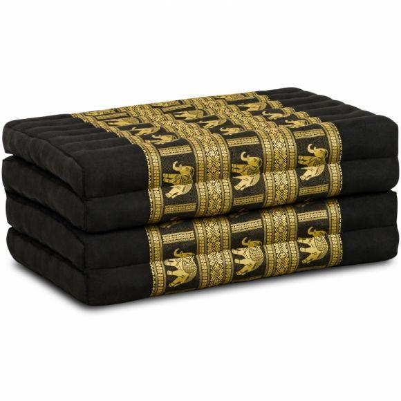 Folding Mattress, 200 cm x 80 cm, silk, black/elephants