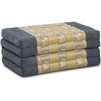 Folding Mattress, 200 cm x 80 cm, silk, grey/elephants