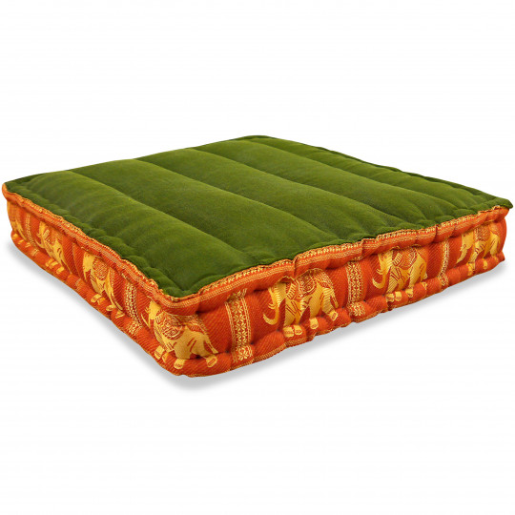 Floor Seat Cushion, Meditation Cushion Silk, green-orange / elephants