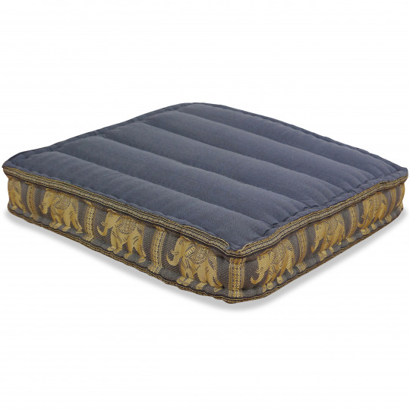 Floor Seat Cushion, Meditation Cushion Silk, grey / elephants