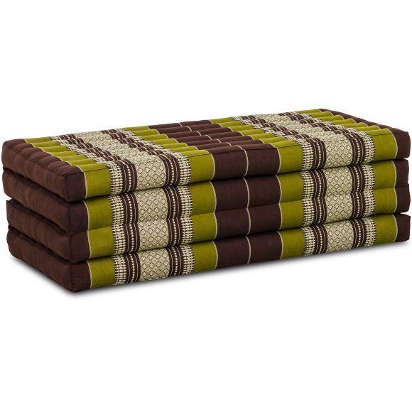 Folding Mattress, 200 cm x 110 cm, brown / green