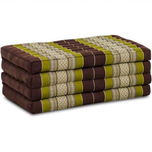 Folding Mattress, 200 cm x 80 cm, brown / green