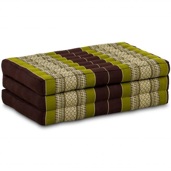 Folding Mattress, 140 cm x 70 cm, brown / green