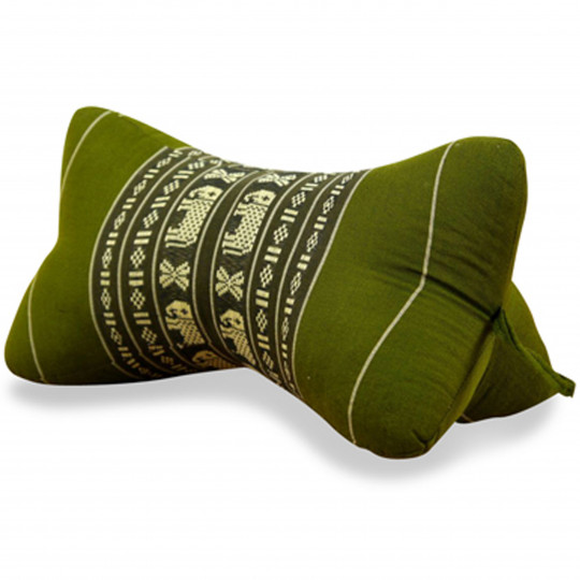 Bone Neck Pillow, green / elephants