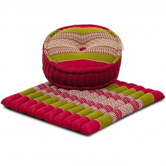 Kapok, Zafu Cushion + Quilted Seat Cushion Size L, red / green