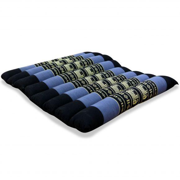 Kapok Quilted Seat Cushion, Size M, blue elephants