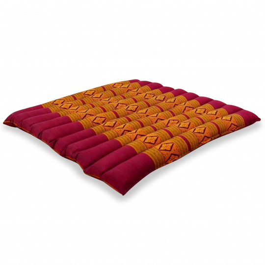 Kapok Quilted Seat Cushion, Size L,  red / yellow