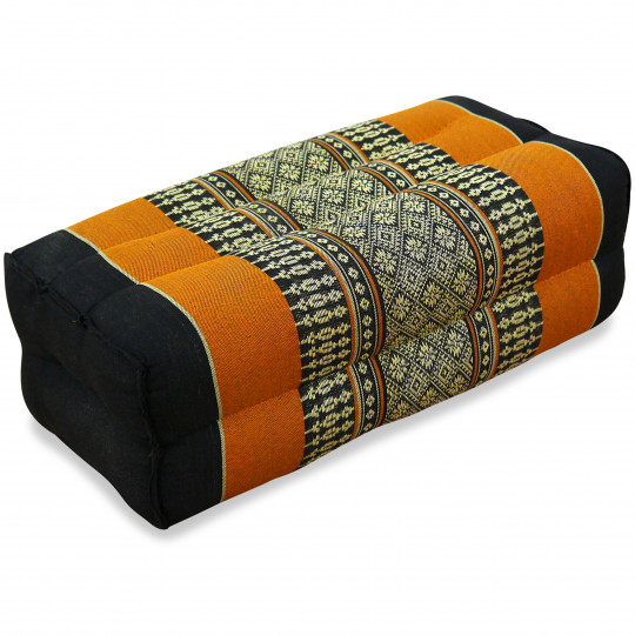 Block pillow, black / orange