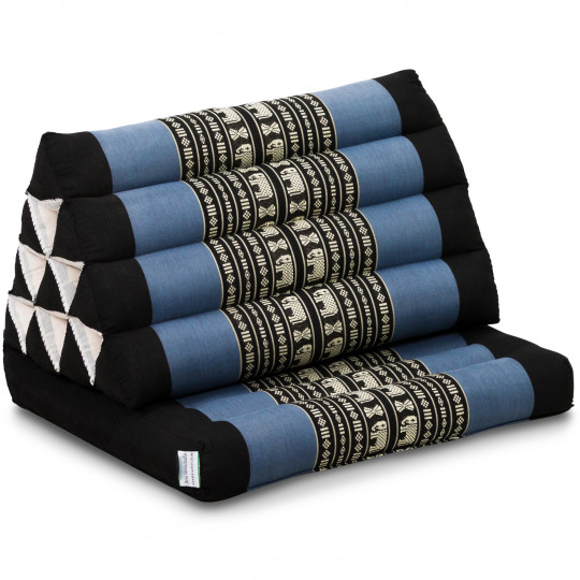 Thai Cushion 1 Fold, blue elephants