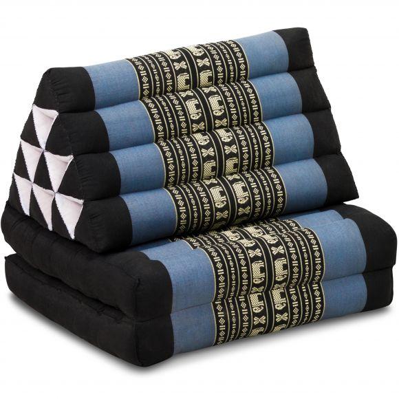Thai Cushion 2 Fold, blue elephants