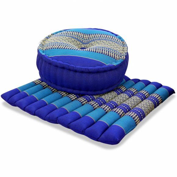 Kapok, Zafu Cushion + Quilted Seat Cushion Size L, blue