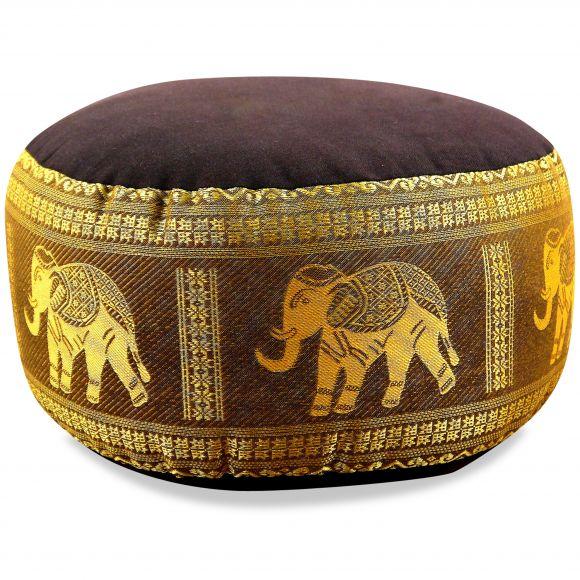 Small Zafu Pillow, silk, brown-gold / elephants