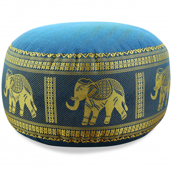 Small Zafu Pillow, silk, light blue / elephants