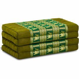 Folding Mattress, 200 cm x 80 cm, silk, green/elephants