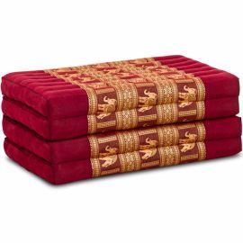 Folding Mattress, 200 cm x 80 cm, silk, red/elephants