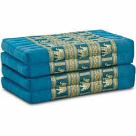 Folding Mattress, 200 cm x 80 cm, silk, light blue/elephants