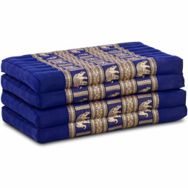 Folding Mattress, 200 cm x 80 cm, silk, blue/elephants