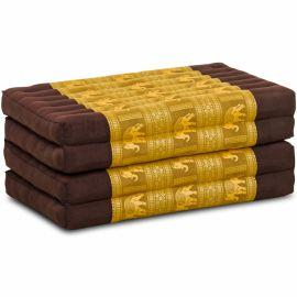 Folding Mattress, 200 cm x 80 cm, silk, dark brown-gold/elephants