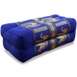 Block pillow, Silk, blue / elephants