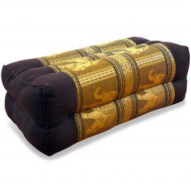 Block pillow, Silk, dark brown-gold / elephants