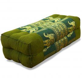 Block pillow, Silk, green / elephants