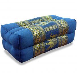 Block pillow, Silk, light blue / elephants