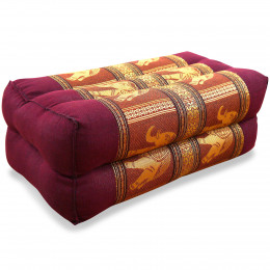 Block pillow, Silk, red / elephants