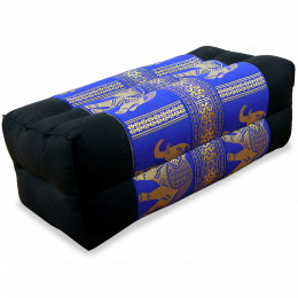 Block pillow, Silk, black-blue / elephants