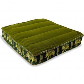Floor Seat Cushion, Meditation Cushion Silk, green / elephants