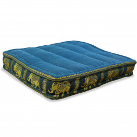 Floor Seat Cushion, Meditation Cushion Silk, light blue / elephants