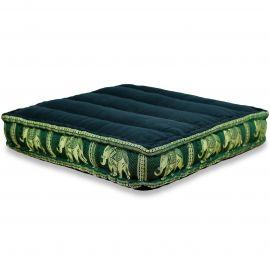 Floor Seat Cushion, Meditation Cushion Silk, black-green / elephants