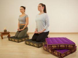 Floor Seat Cushion, Meditation Cushion Silk, dark purple / elephants