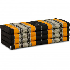 Folding Mattress, 200 cm x 110 cm, black / orange