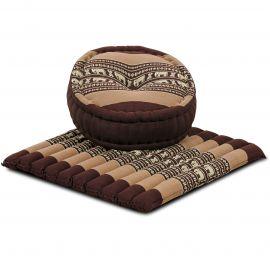Kapok, Zafu Cushion + Quilted Seat Cushion Size L, brown / elephants