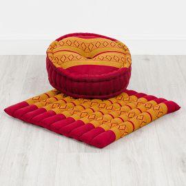 Kapok, Zafu Cushion + Quilted Seat Cushion Size L, red / yellow