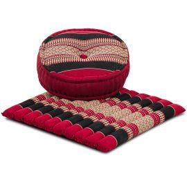 Kapok, Zafu Cushion + Quilted Seat Cushion Size L, red / black