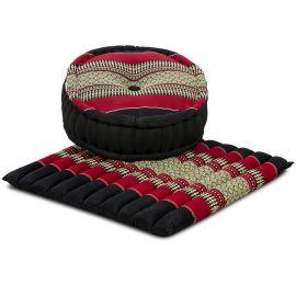 Kapok, Zafu Cushion + Quilted Seat Cushion Size L, black / red
