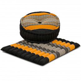 Kapok, Zafu Cushion + Quilted Seat Cushion Size L, black / orange