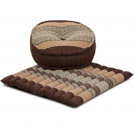 Kapok, Zafu Cushion + Quilted Seat Cushion Size L, brown