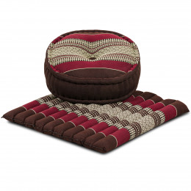 Kapok, Zafu Cushion + Quilted Seat Cushion Size L, bordeaux