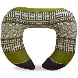 Kapok Neck Pillow, brown / green