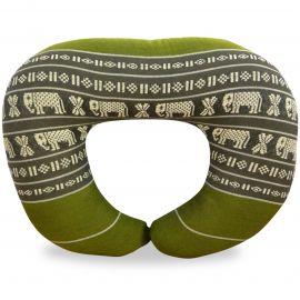 Kapok Neck Pillow, green / elephants