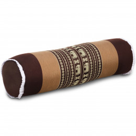 Kapok Bolster, Neck Pillow, brown / elephants