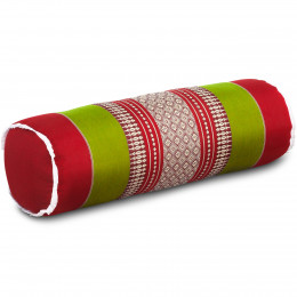 Kapok Bolster, Neck Pillow, red / green