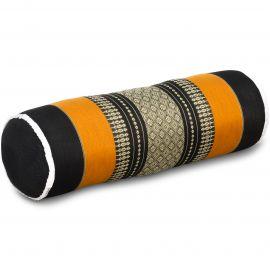 Kapok Bolster, Neck Pillow, black / orange