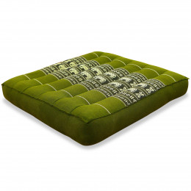 Kapok Seat Cushion, Size M, green elephants