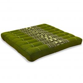 Kapok Seat Cushion, Size L,  green elephants