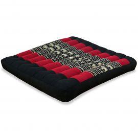 Kapok Seat Cushion, Size L,  black elephants