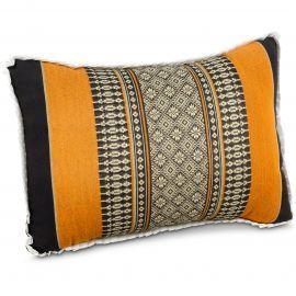 Small Throw Pillow, black / orange