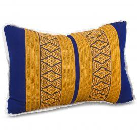 Small Throw Pillow, blue / yellow